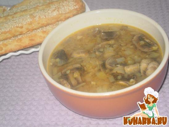 Рецепт Грибной суп с чечевицей