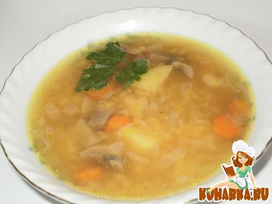 Рецепт Суп с шампиньонами и чечевицей