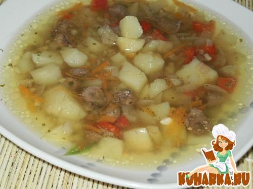Рецепт Суп из куриных сердечек в горшочке