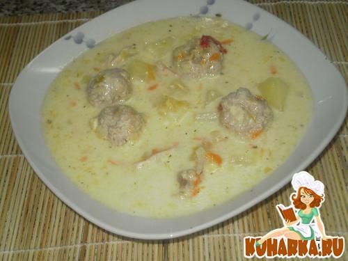 Рецепт Курино-сырный супчик с фрикадельками
