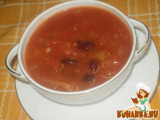 Рецепт Томатно-фасолевый суп с беконом