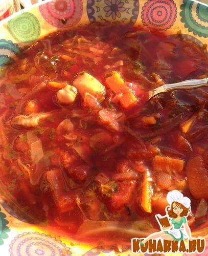 Рецепт Постный борщ со шпинатом и нутом