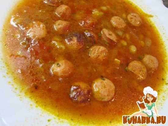 Рецепт Томатный суп с сосисками