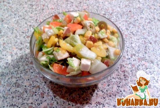 """Рецепт Салат овощной с сыром """"Мяушенька"""""""