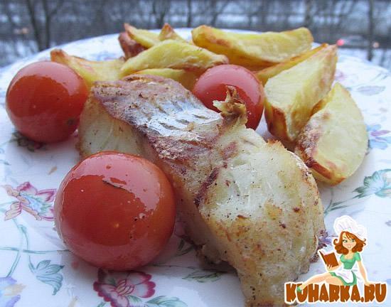 Рецепт Жареная треска с помидорами и печеным картофелем