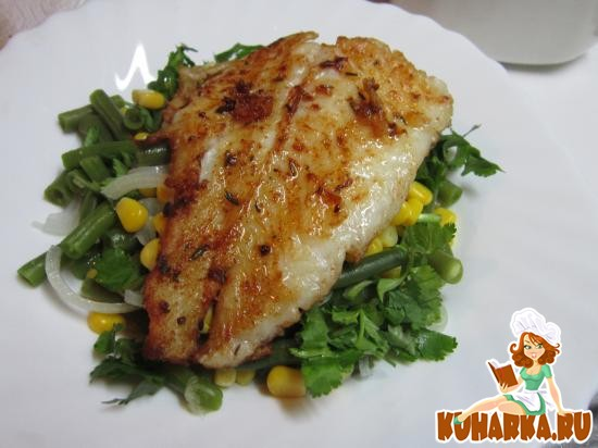 Рецепт Жареная рыба со специями и салатом из кукурузы