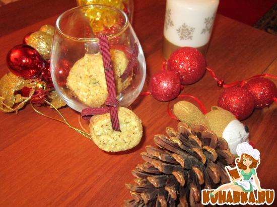 Рецепт Нежное апельсиново-ореховое печенье на елку