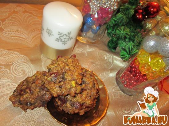 Рецепт Овсяное печенье с клюквой, фисташками и шоколадом