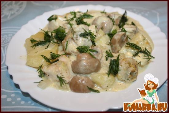Рецепт Куриное филе с картошкой и грибами в мультиварке