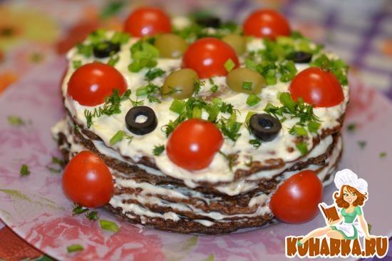 """Рецепт Печеночный тортик """"Праздничный"""""""