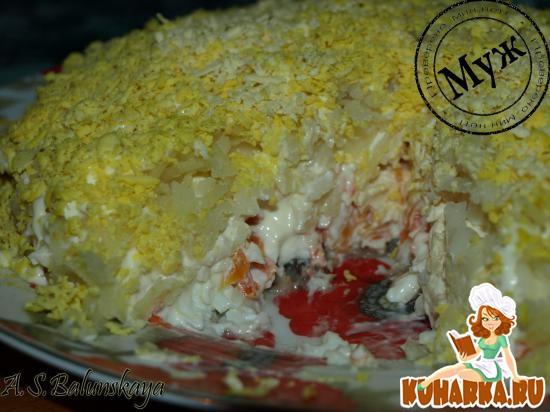 """Рецепт Салат """"Мимоза"""" с плавленым сыром"""
