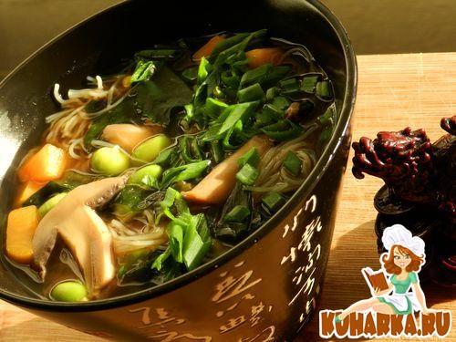 Рецепт Японский суп -мисо с тыквой и рисовой вермишелью