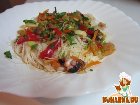 Рецепт Рисовая лапша с морепродуктами