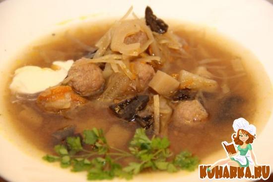 Рецепт Щи грибные с фрикадельками