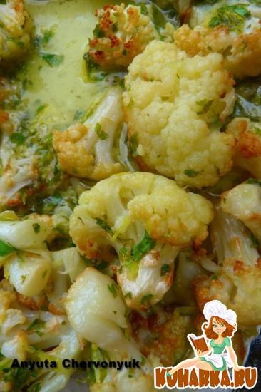Рецепт Запечёная цветная капуста с лимоном и петрушкой.