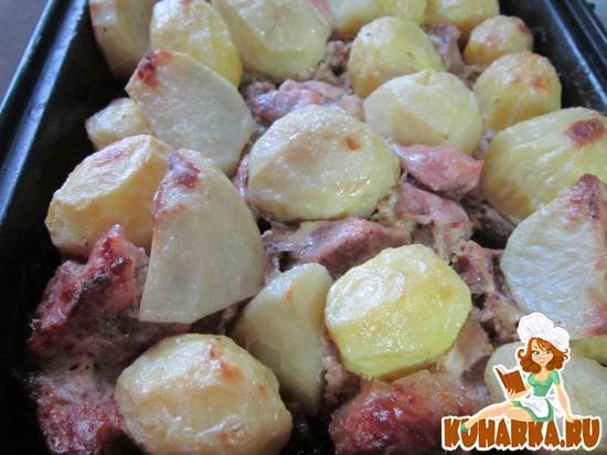 Рецепт Картошка с мясом запеченная в духовке