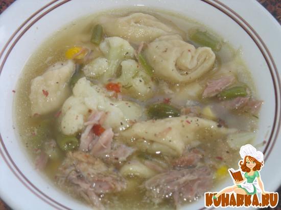 Рецепт Суп с телятиной, замороженными овощами и клецками с укропом и маслом