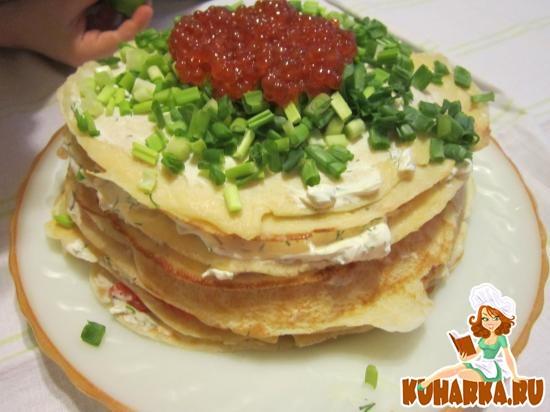 Рецепт Блинный торт с семгой и риккотой