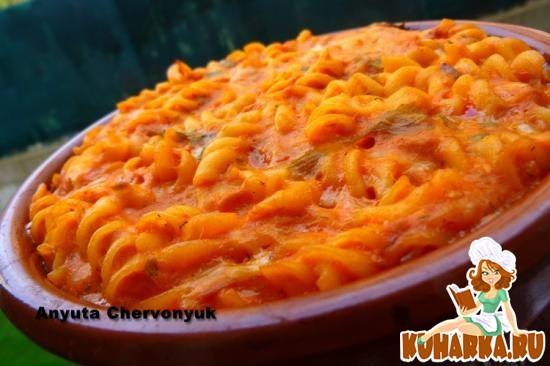 Рецепт Запечёные макароны с тунцом и томатом.