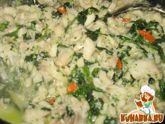 Рецепт Рыба, тушеная со шпинатом