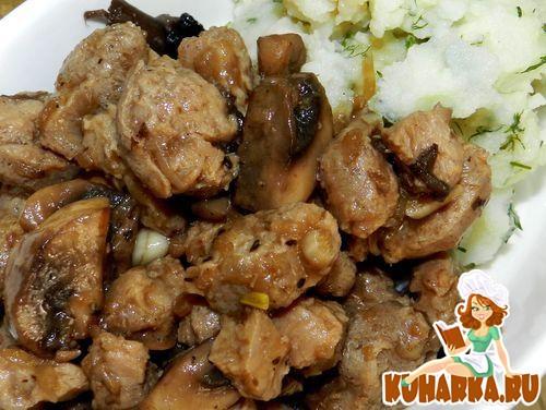 Рецепт Соевое мясо с грибами