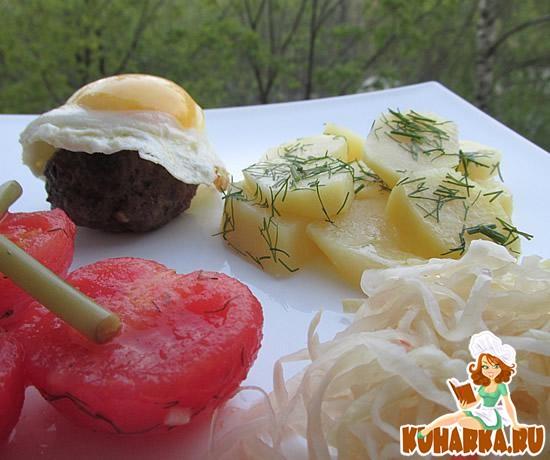 Рецепт Бифштекс рубленый с яйцом