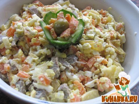 Рецепт Салат из вареной моркови с печенью и чесноком