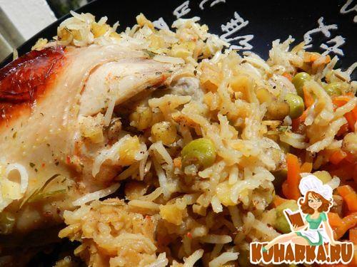 Рецепт Маджадра с курицей,запечённая в духовке