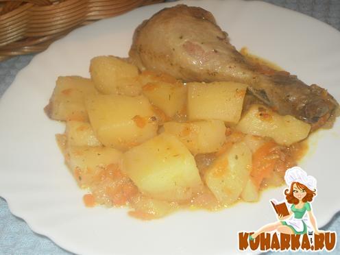 Рецепт Картошка с курицей в мультиварке