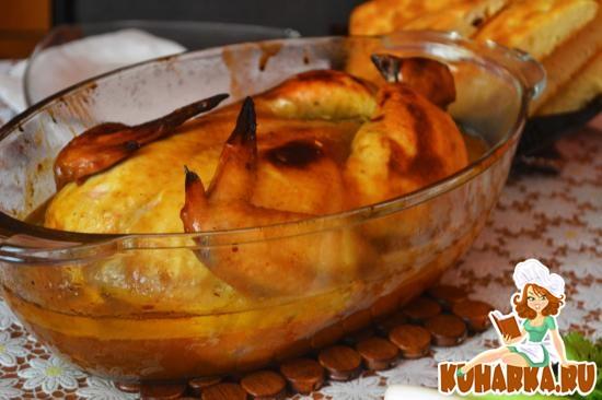 Рецепт Имбирно-медовая курочка без костей, фаршированная рисом с сухофруктами