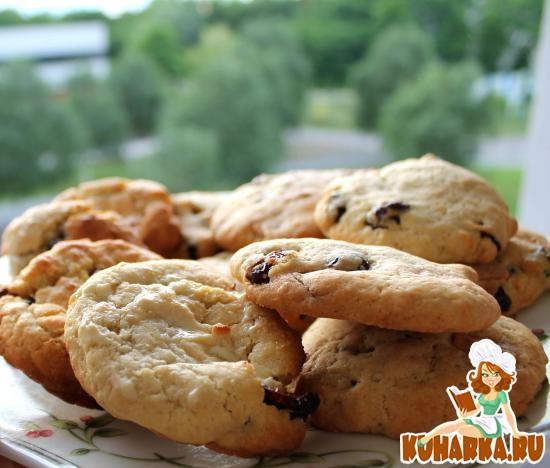 Рецепт Овсяные печенья с клюквой и белым шоколадом
