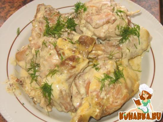 Рецепт Кролик тушеный в сметанном соусе