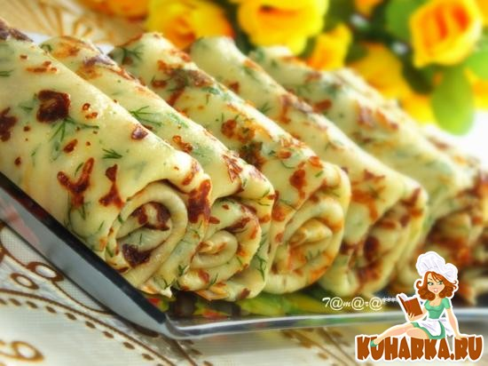 Рецепт Сырные блины с зеленью
