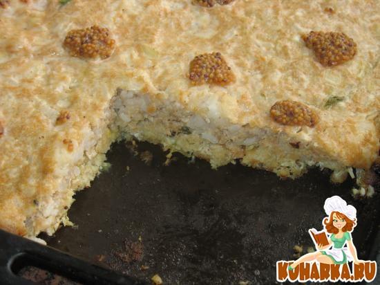 Рецепт Запеканка из рыбного фарша с рисом и луком