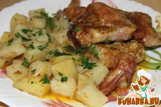 Рецепт Куриные крылышки с сочной картошкой