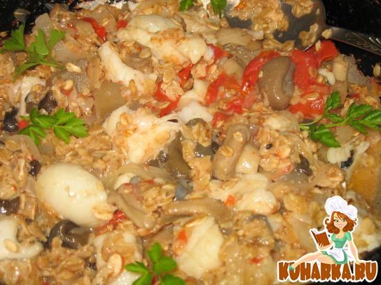 Рецепт Зубатка, тушенная с овощами и овсянкой