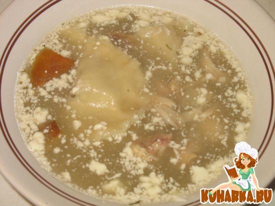 Рецепт Суп на грибном бульоне с ушками, начиненными маслом
