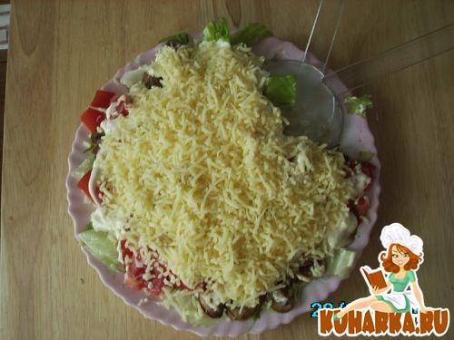 Рецепт Салат с грибами и помидорами