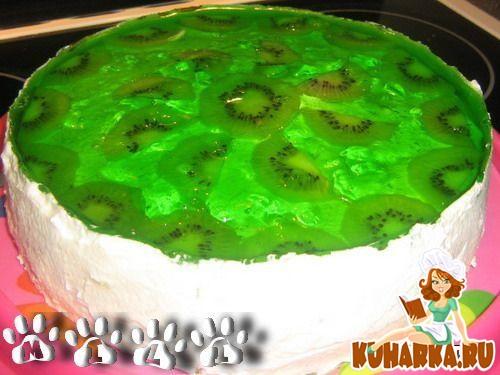 Рецепт Творожный торт с киви и желе