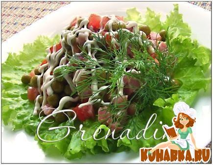 Рецепт Салат с ветчиной и зеленым горошком