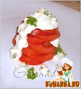 Рецепт Помидорный салат с заправкой и голубого сыра