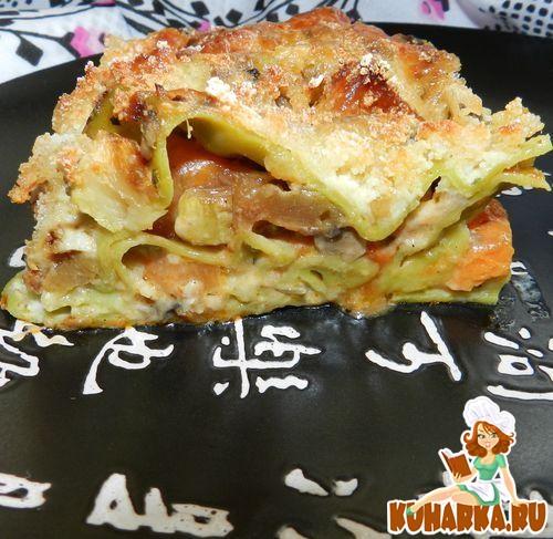 Рецепт Лазанья с грибами,кабачками и белой рыбой