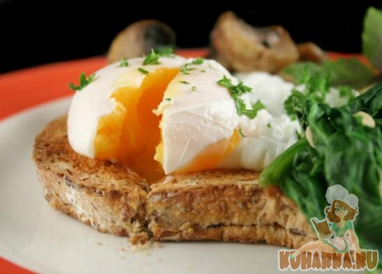 Рецепт Яйцо пашот с кремом из зеленого горошка и чипсами из пармской ветчины