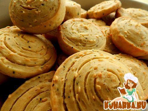Рецепт Соленое печенье с кунжутом и базиликом