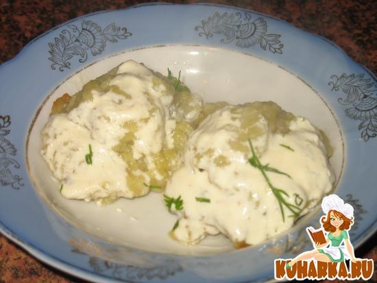 Рецепт Клецки картофельные, фаршированные мясом, утушенные в мясном бульоне.