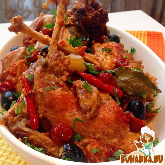 Рецепт Кролик с овощами в сметанном соусе
