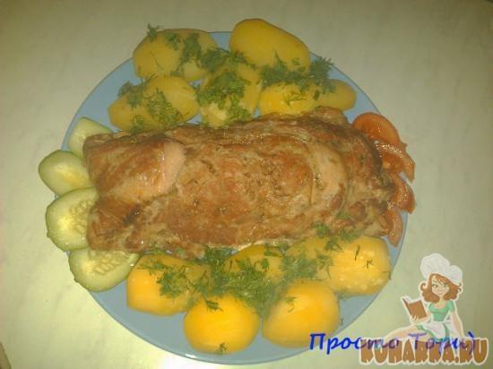 Рецепт Мясной рулет с куриной печенью.