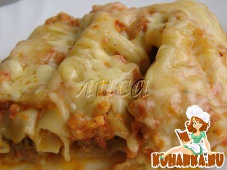 Рецепт Каннелони (сanelonni) с мясом под сливочно-томатным соусом