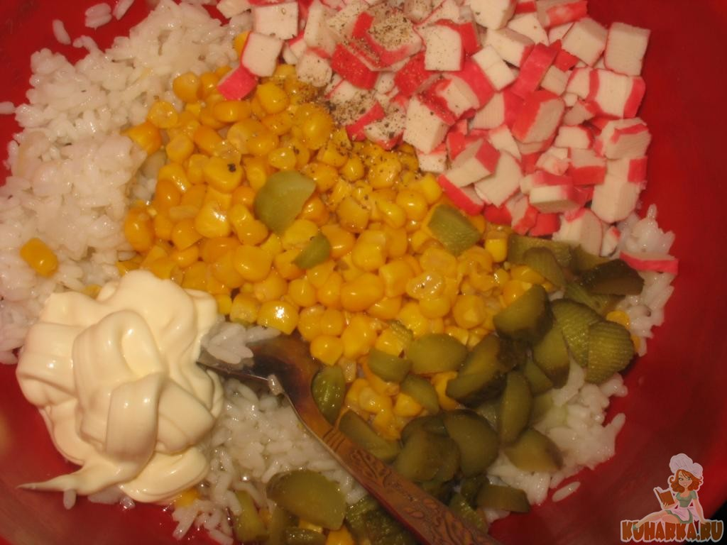 Фото пошаговый рецепт салат крабовые палочки