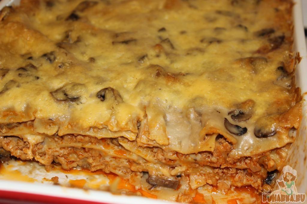 Лазанья с мясом и грибным соусом – кулинарный рецепт